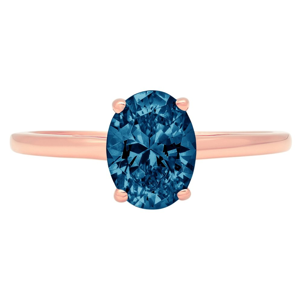 1 Ct Oval Cut Natural London Blue Topaz Classic Wedding Engagement Designer Bridal Promise Ring Solid 14K Rose Gold