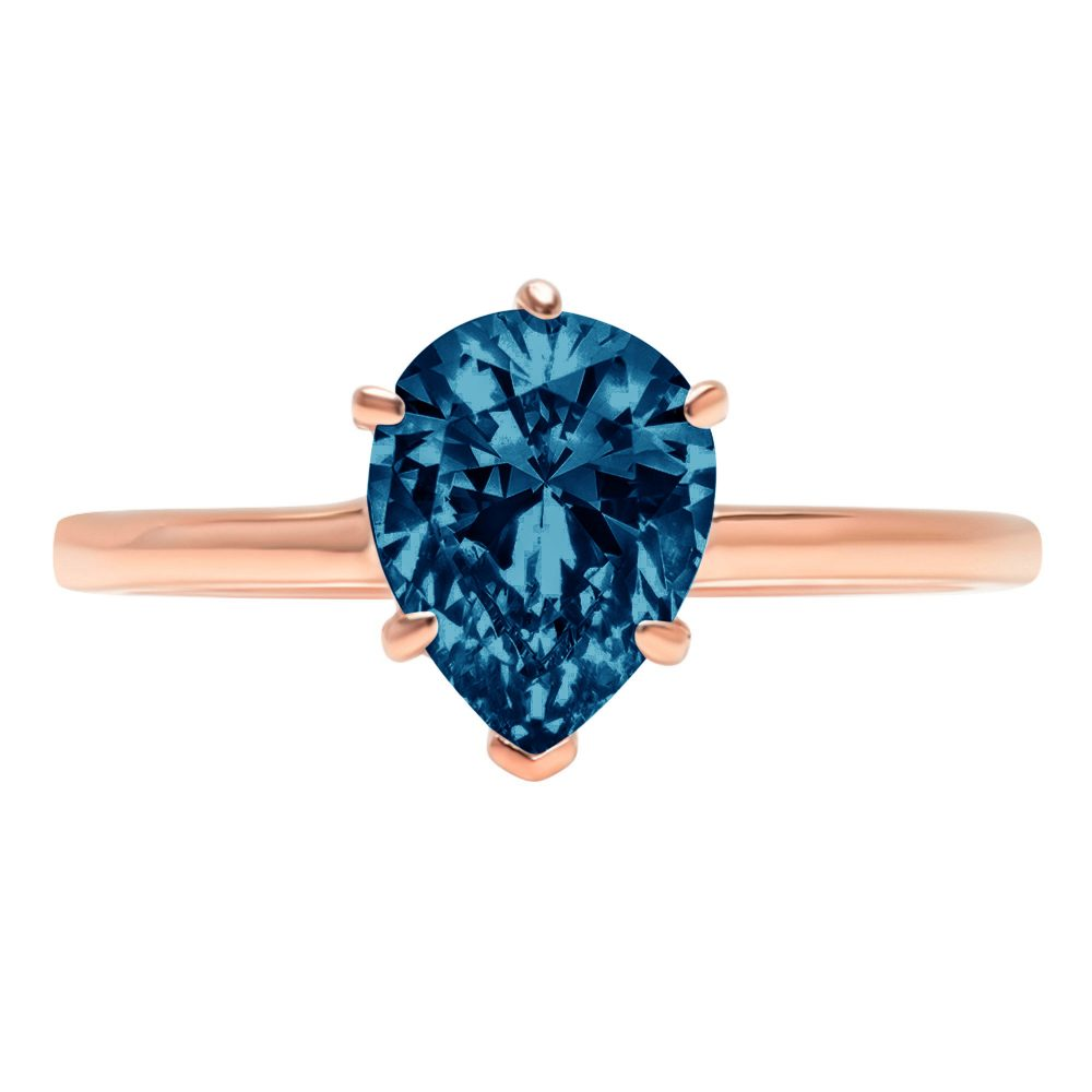 1 Ct Pear Cut Natural London Blue Topaz Classic Wedding Engagement Bridal Promise Designer Ring Solid 14K Rose Gold