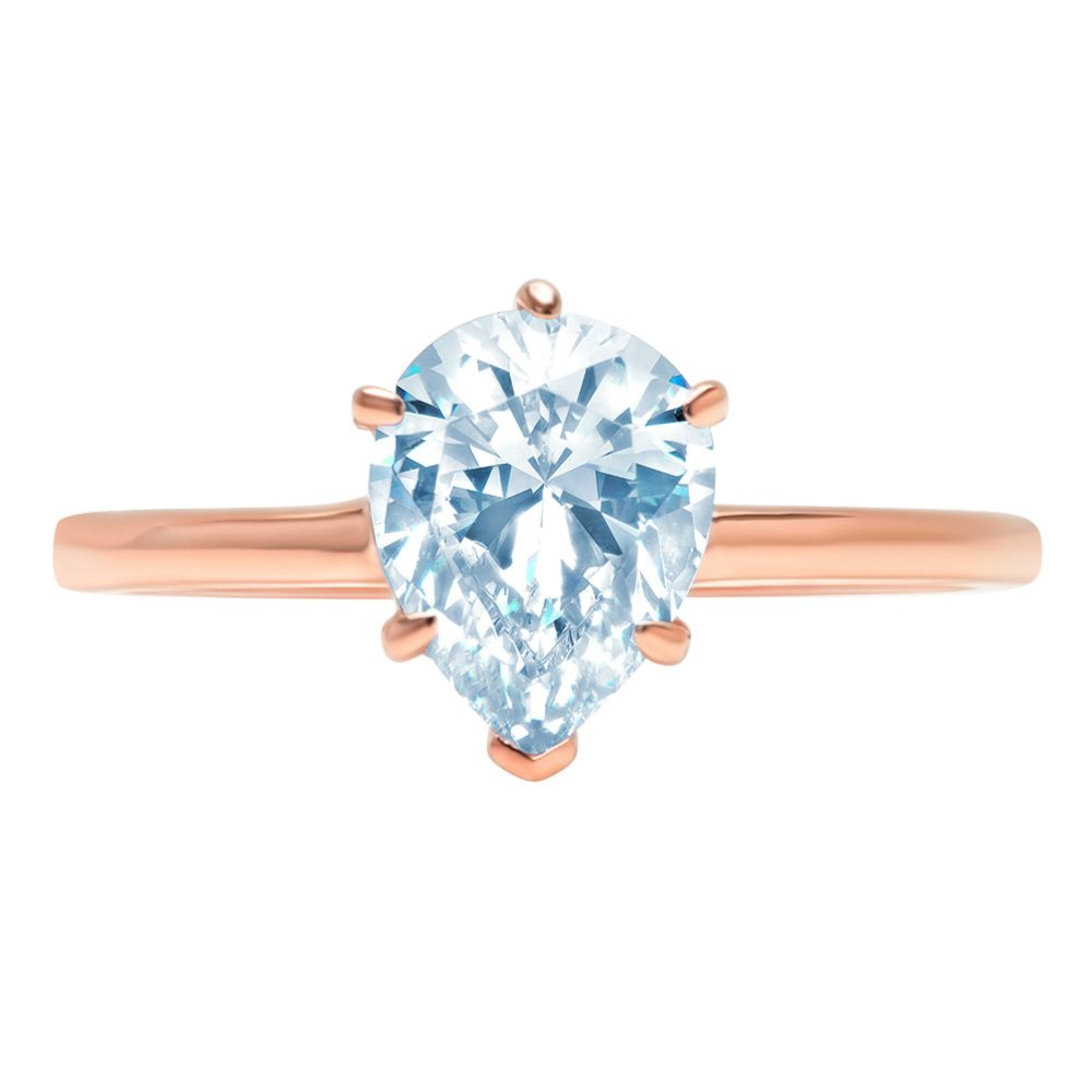 1 Ct Pear Cut Natural Sky Blue Topaz Classic Wedding Engagement Bridal Promise Designer Ring Solid 14K Rose Gold