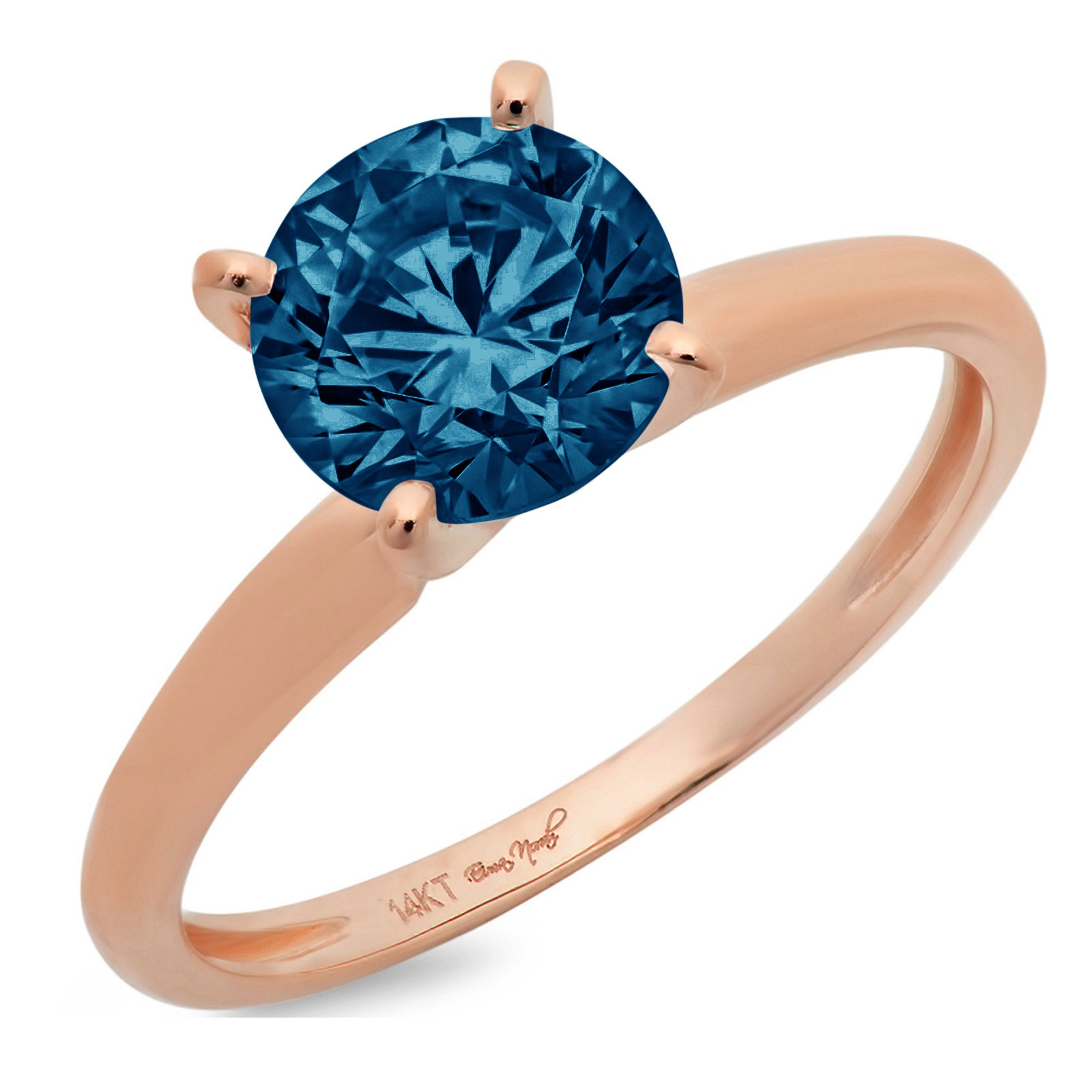 1 Ct Round Cut Natural London Blue Topaz Classic Wedding Engagement Bridal Promise Designer Ring Solid 14K Rose Gold