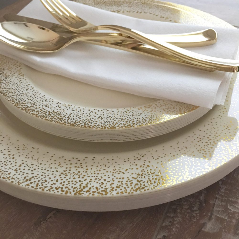 Ivory & Gold Pop, Clink, Fizz Collection. Modern Party Plates. Disposable