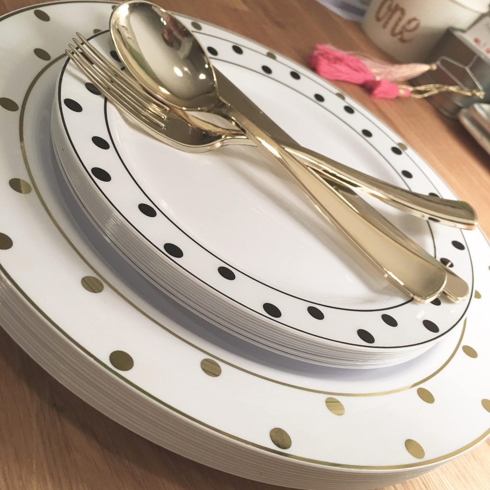 Kate Of Spades Collection. Modern Gold, Black & White Party Plates. Disposable Wedding 20 Pc. Set