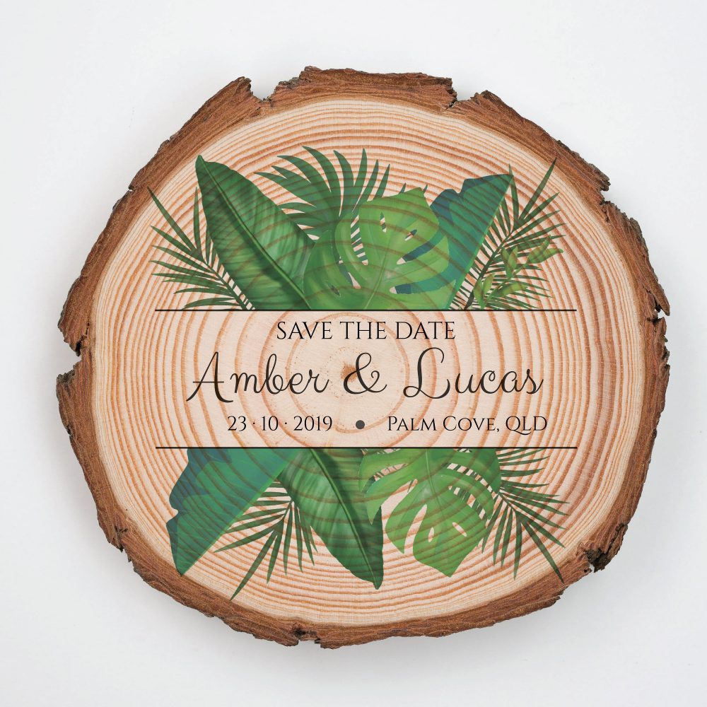 Island Wedding Save The Date Magnet • Beach The Monstera Destination Save-The-Date Wood Slice