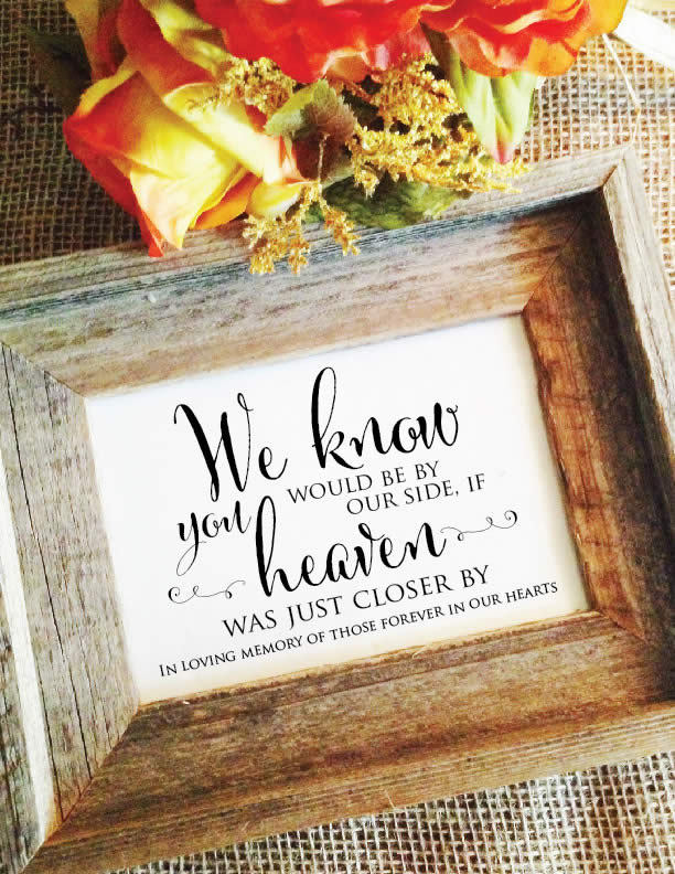 Wedding Memorial Sign in Loving Memory in Loving Memory Sign Forever Our Hearts By Side Heaven | Frame Not Included