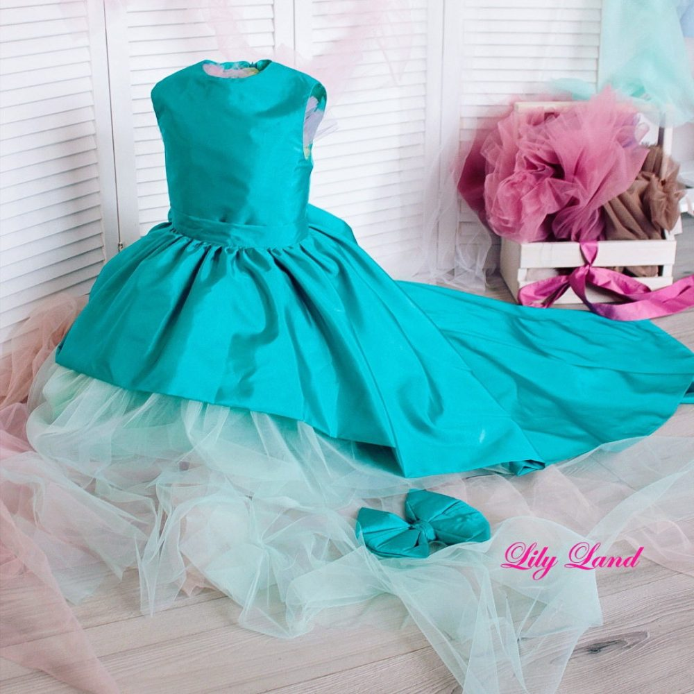 Mint Green Dress Girl Mint Tulle Detachable Kids Long Train Evening Gown Party Wedding Flower Girl Dress Tutu Toddler Size