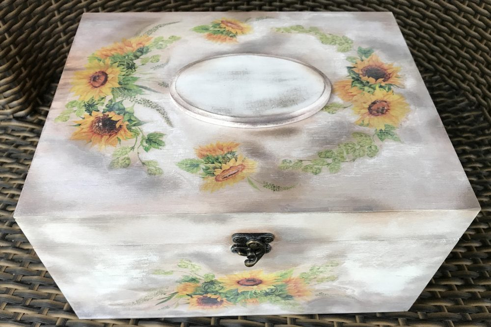 Card Box Wedding Card Holder With Lid Sunflower Large Memory Custom Photo For Cards Shabby Chic Boxes