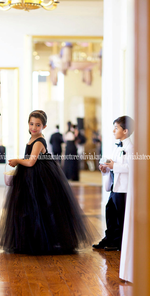 Black Tie Wedding, Flower Girl Dress, Formal Modern Flower Girl Dress, Floor Length Girls Dress