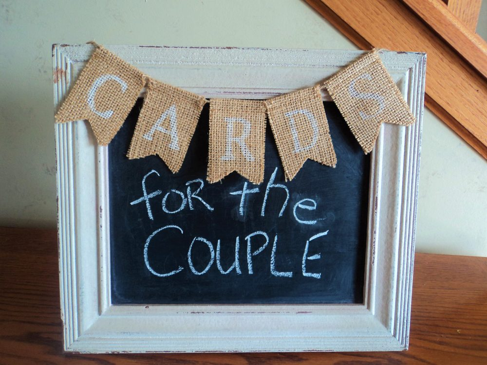 Cards Or Gifts Mini Burlap Banner For Rustic, Shabby Chic Wedding Party Event, Card Box Sign, Rustic & Gift