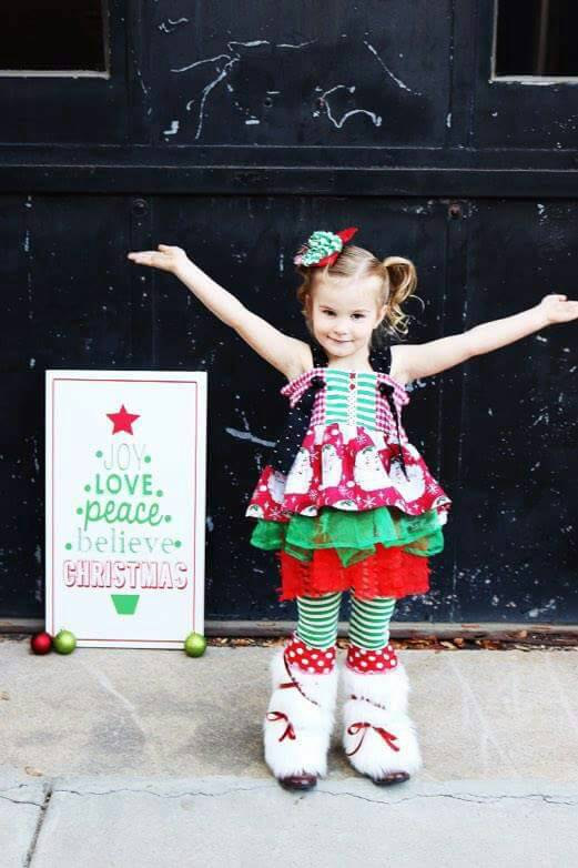 Holly Bundle - Girl's Christmas Outfit, Girl Santa Toddler Holiday Ruffle Dress, Santa Baby Christmas Dress