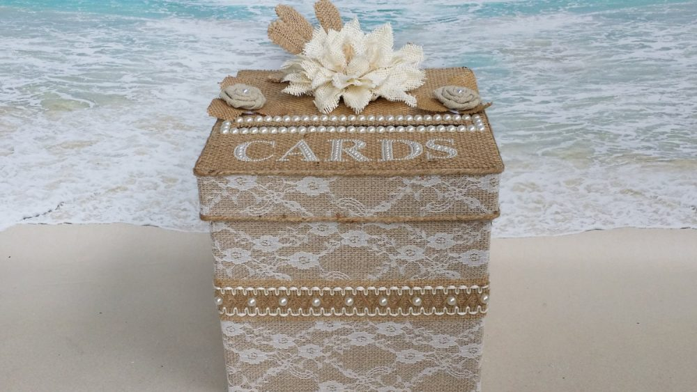 Rustic Burlap, Lace & Pearl Card Box | Wedding, Shower, Etc Money Cardbox Shabby Chic Country Flowers Pearls