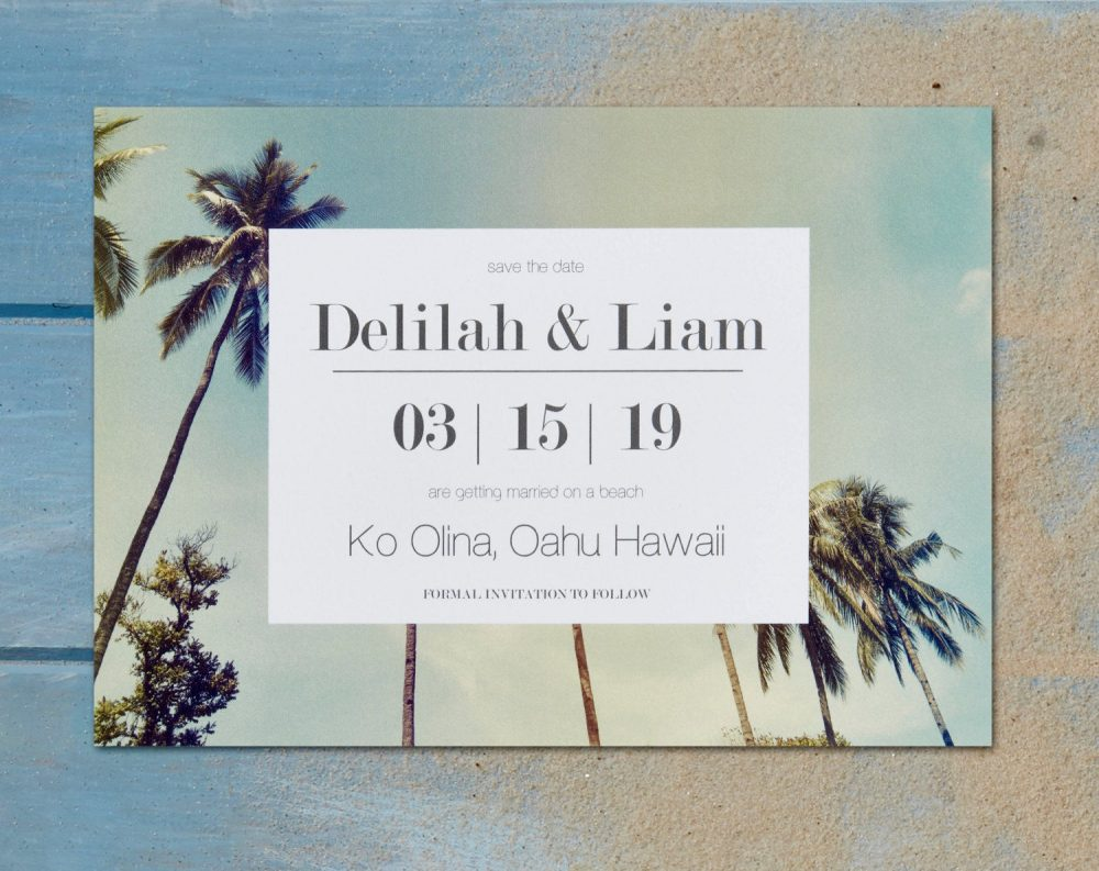 Save The Date - Hawaii Wedding Vintage Photo Destination Tropical Palm Tree Beach Custom