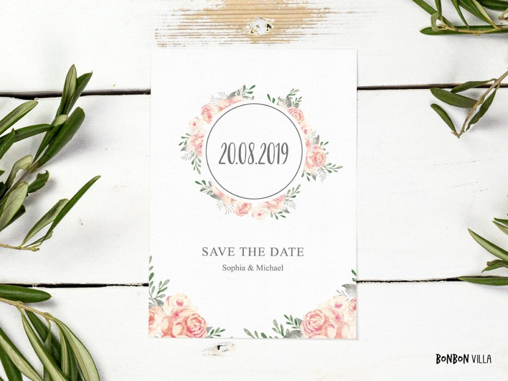 Save The Date Cards, Wedding, Vintage, From 20 Pieces, Watercolor, Watercolor, Wedding Invitations, Vintage Roses