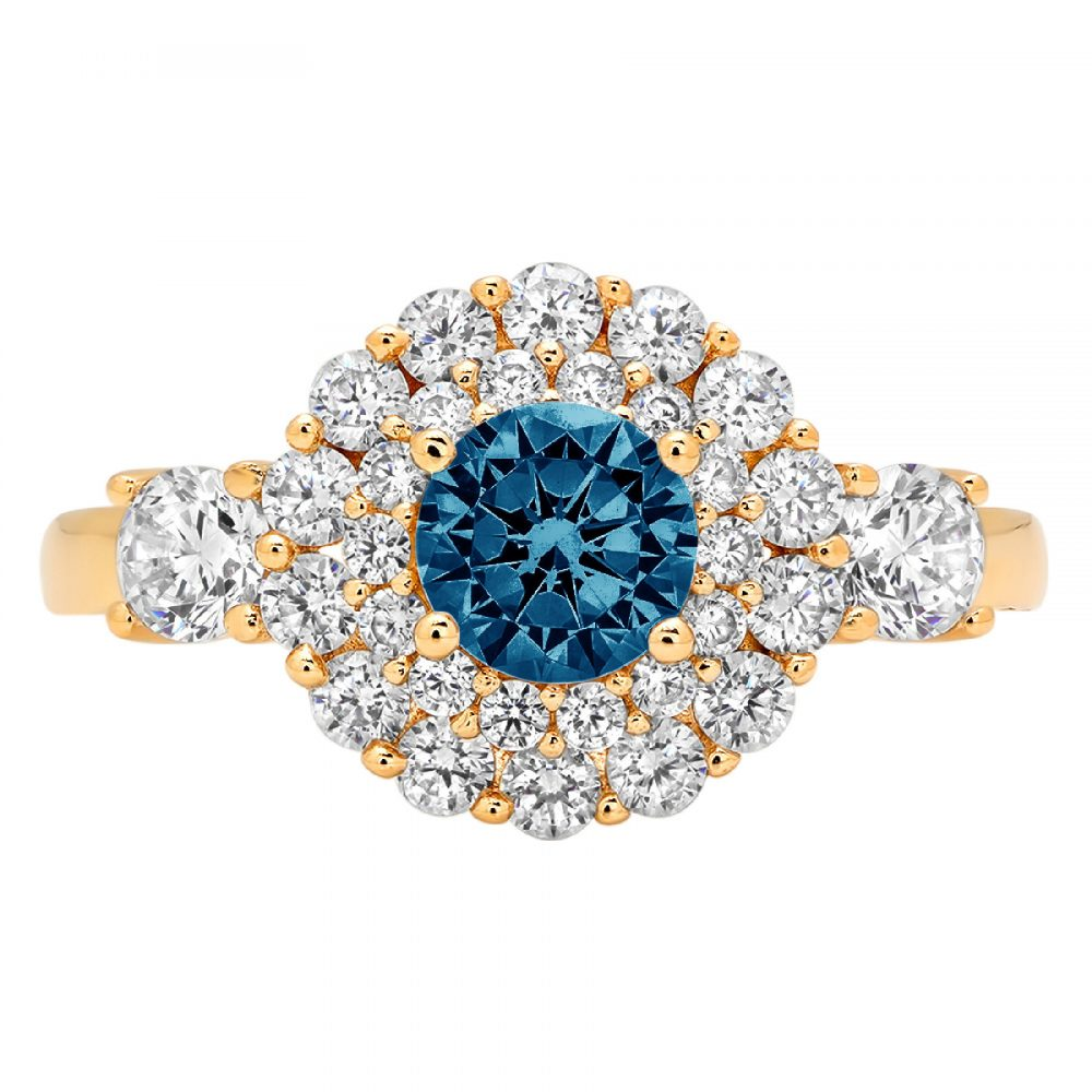 1.12 Ct Round Double Halo Natural London Blue Topaz Classic Promise Wedding Engagement Designer Ring Solid 14K Yellow Gold