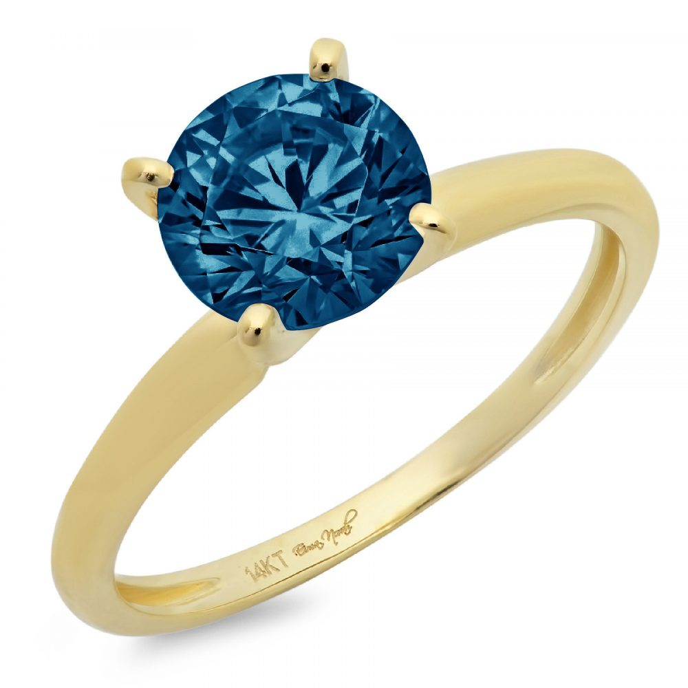 1.0 Ct Round Cut Natural London Blue Topaz Classic Wedding Engagement Bridal Promise Designer Ring Solid 14K Yellow Gold