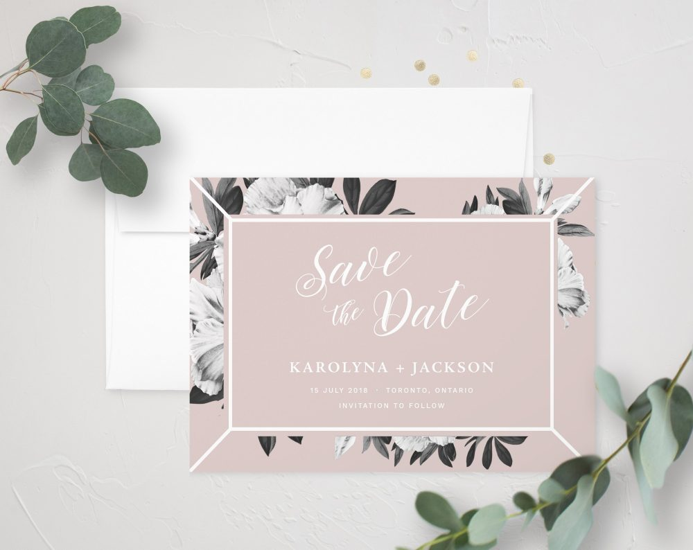 Calliope | Floral Save The Date Card, Vintage Wedding, Garden Wedding Announcement, Blush Date, Modern Lily