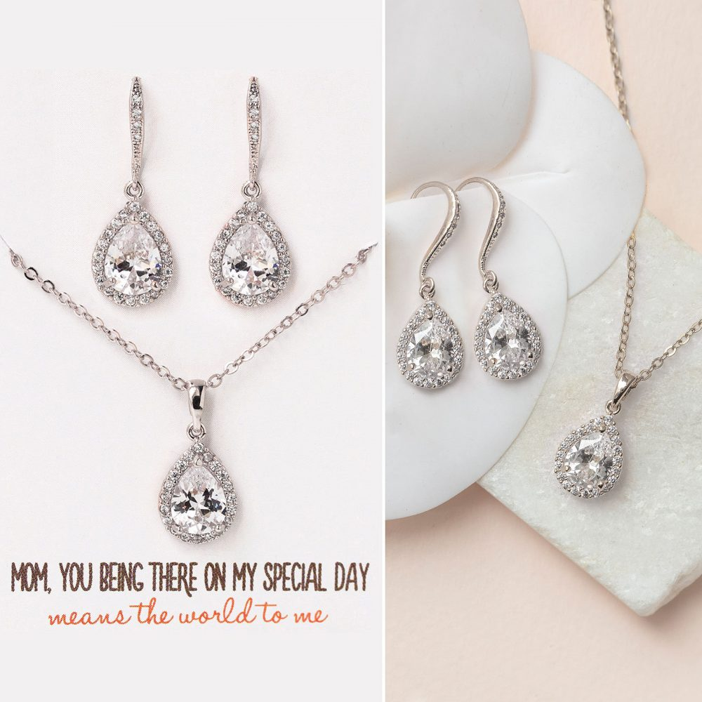 Gift For Mom, Mother Of The Bride Gift, Earring & Necklace Set, Silver Jewelry N519-D
