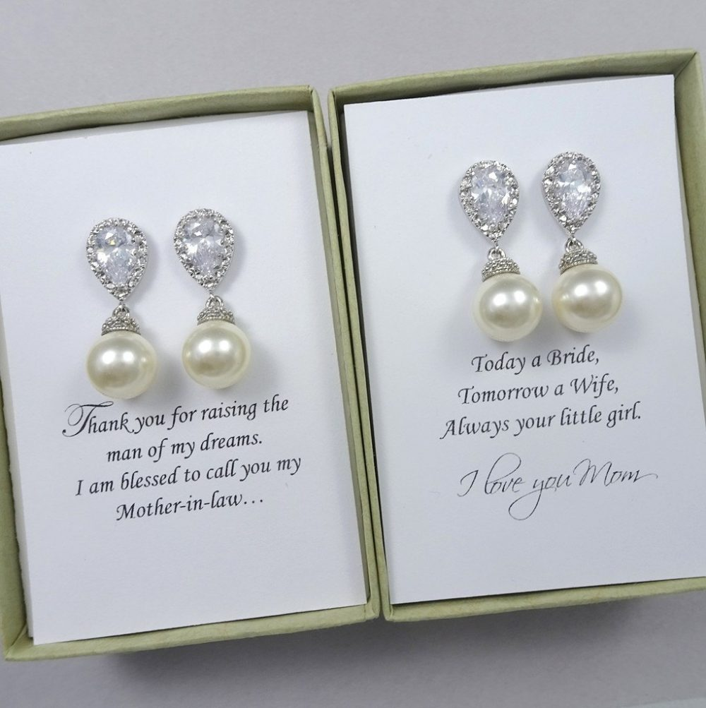 Mother Of The Bride Gift Earrings, Groom Swarovski 10mm Ivory Pearl Wedding Earrings