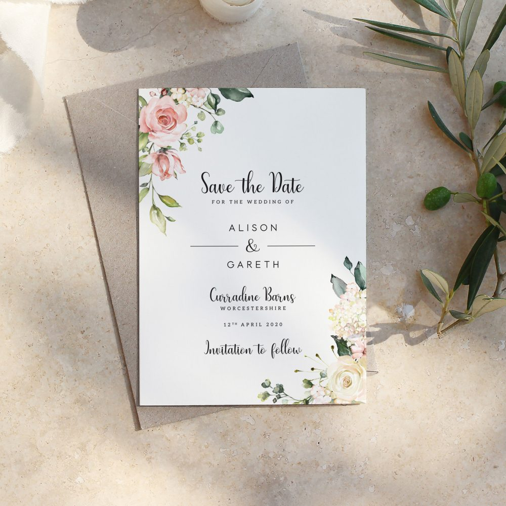 Vintage Save The Date, Floral Date Card, Save-The-Date Magnet, Simple Summer Hampstead