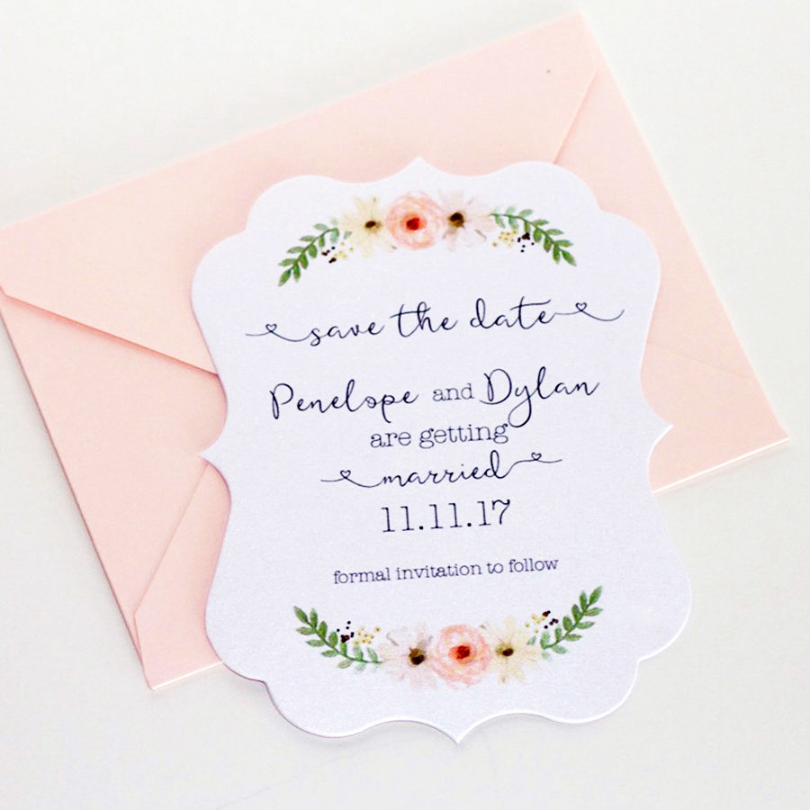 Penelope Vintage Save The Date Card - Die Cut Floral Watercolor Blush Wedding