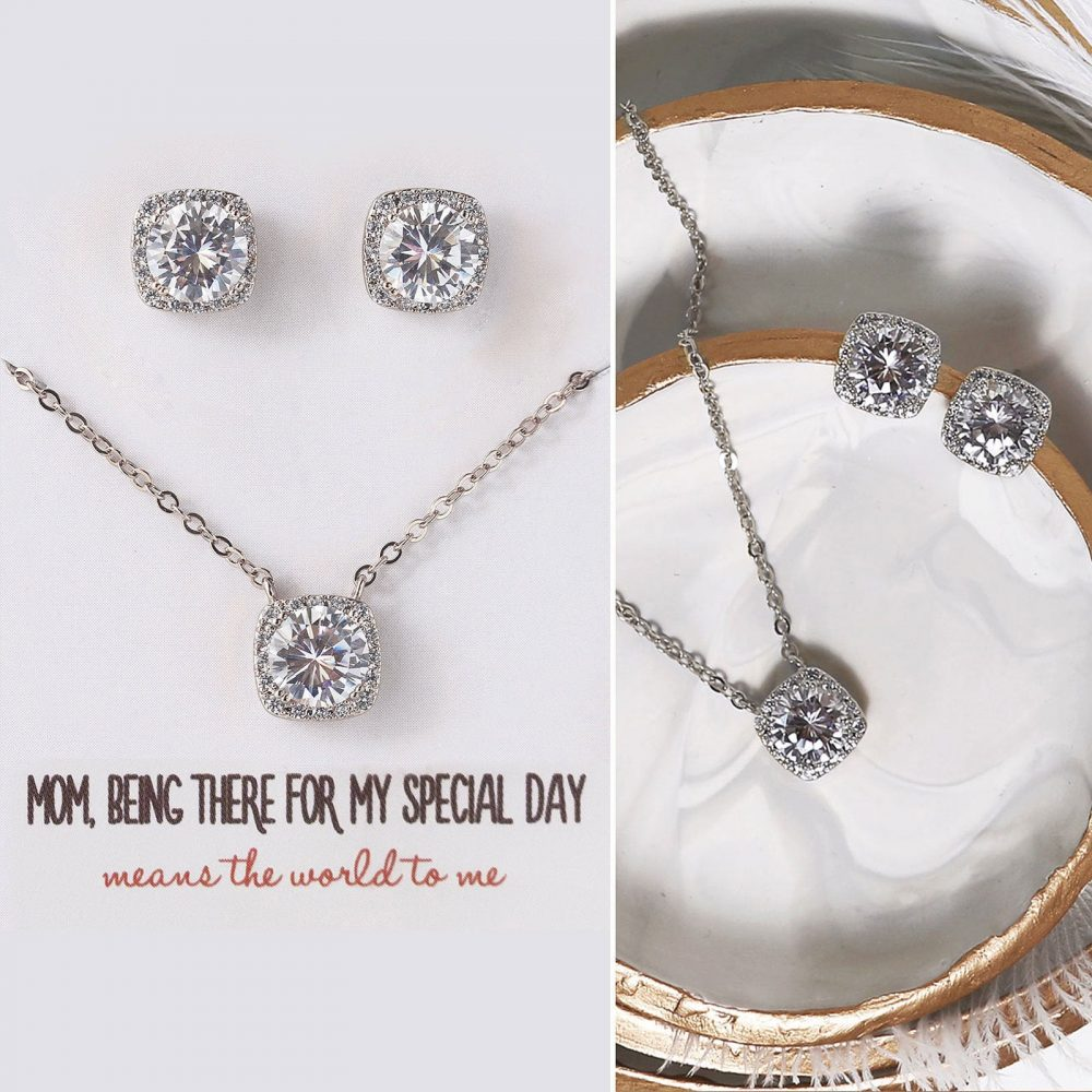 Gift For Mom, Mother Of The Bride Gift, Earring & Necklace Set, Silver Jewelry E313+N521-D