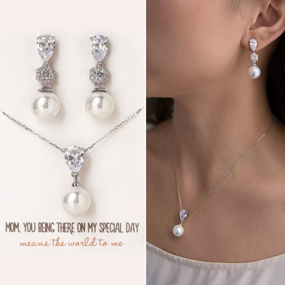 Gift For Mom, Mother Of The Bride Gift, Pearl Necklace, Earring & Necklace Set, Earring, N531-D
