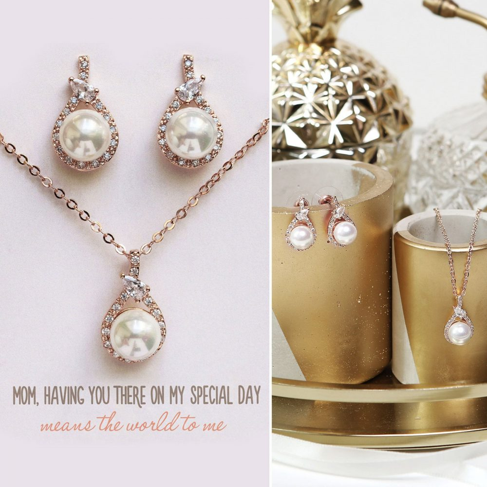 Gift For Mom, Mother Of The Bride Gift, Pearl Necklace, Earring & Necklace Set, Earring, N533-D