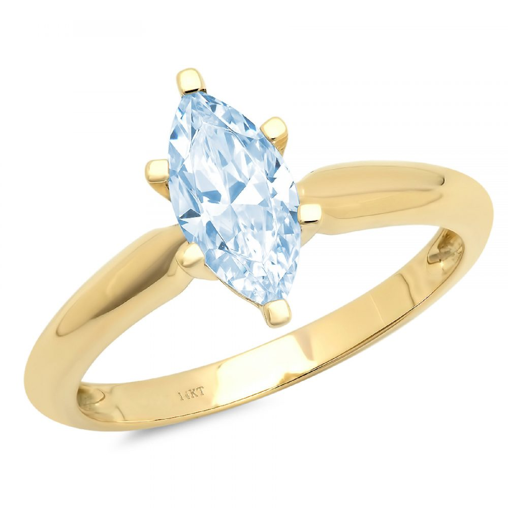 1.0 Ct Marquise Cut Natural Sky Blue Topaz Classic Wedding Engagement Bridal Promise Designer Ring Solid 14K Yellow Gold