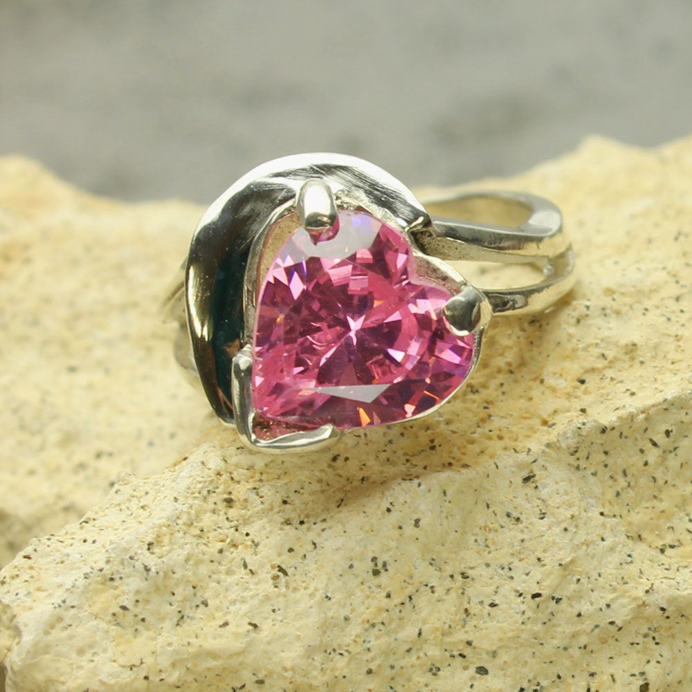 Pink Heart Ring Faceted Pink Gemstone Cz in Custom Sterling Silver