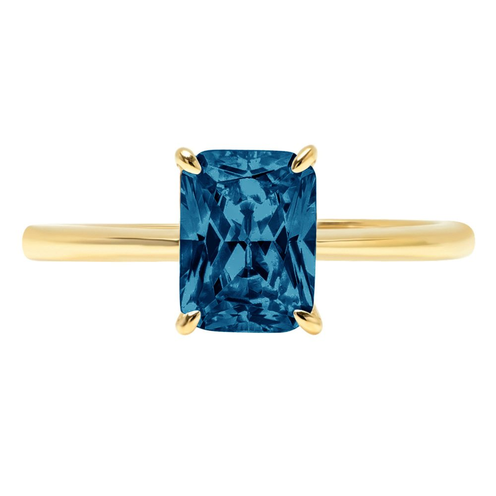 1.0 Ct Radiant Cut Natural London Blue Topaz Classic Wedding Engagement Bridal Promise Designer Ring Solid 14K Yellow Gold