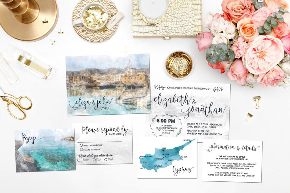 Digital Printable Invitations Destination Wedding Beach Cyprus Cyprus Watercolor Invitation Set Save The Date Map Info Card Id730