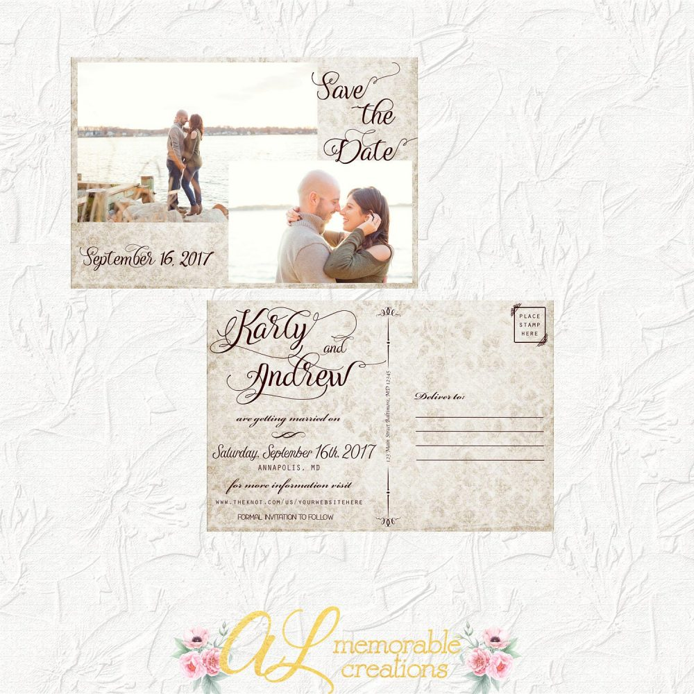 Vintage Save The Date, Wedding Photo Date Postcard, Two