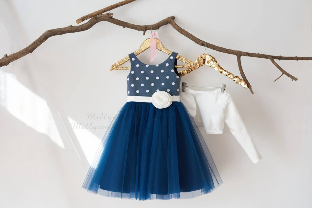 Navy Blue Tulle Ivory Polka Dot Wedding Flower Girl Dress With Long Sleeves Jacket M0065