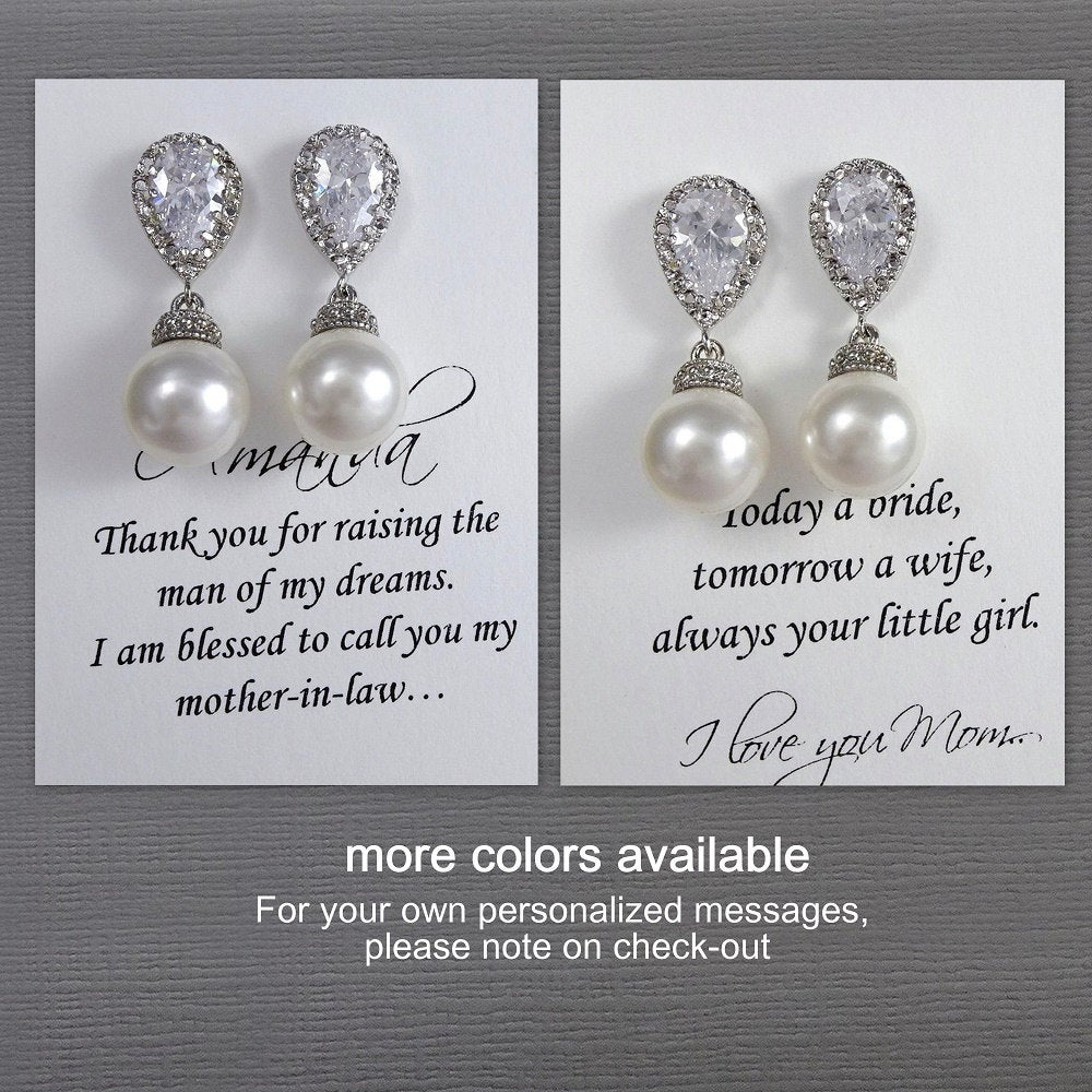 Mother Of The Bride Gift Earrings, Groom Swarovski White Pearl For Mom, Wedding Earrings