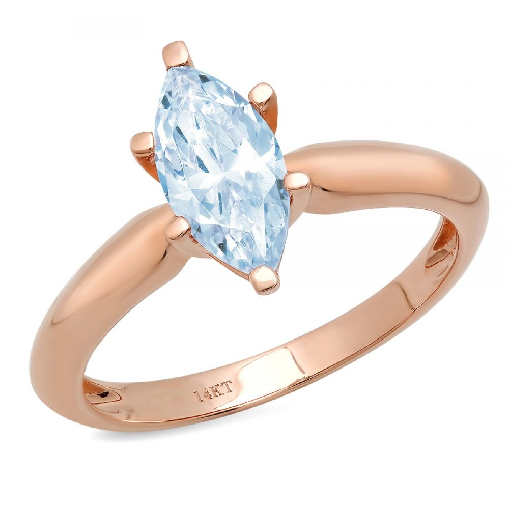 1.0 Ct Marquise Cut Natural Sky Blue Topaz Classic Wedding Engagement Bridal Promise Designer Ring Solid 14K Rose Gold