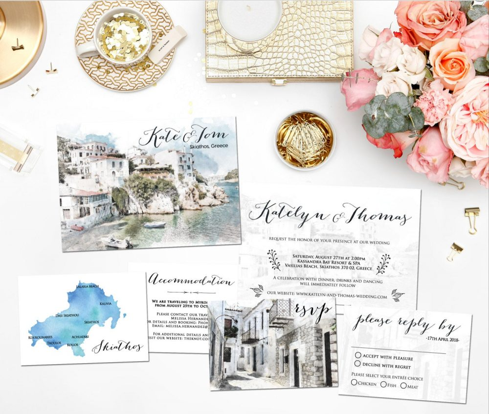 Digital Printable Invitations Destination Wedding Beach Skiathos Greece Watercolor Invitation Set Save The Date Map Info Card Id728
