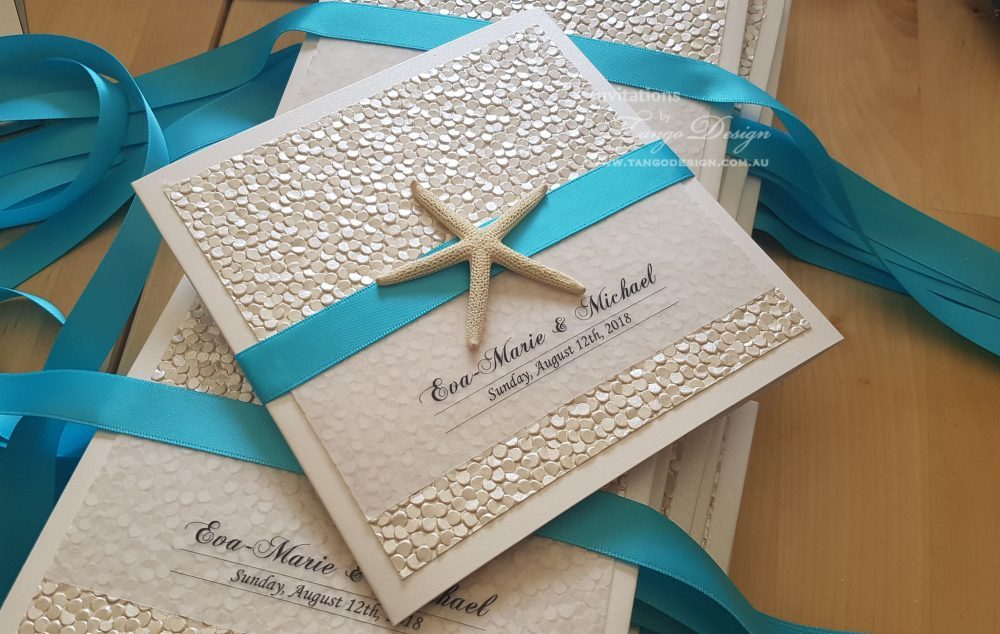 Elegant Beach Invitations Wedding Card Pocket Set. Destination Tropical Island. Champagne Gold Invitation With Starfish. Luxury Invitations