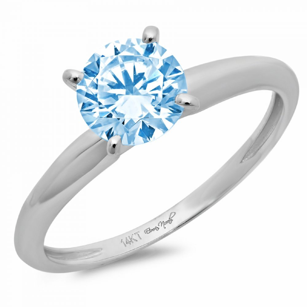1.0 Ct Round Cut Natural Sky Blue Topaz Classic Wedding Engagement Bridal Promise Designer Ring Solid 14K White Gold