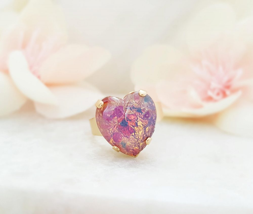 Pink Heart Rings For Women, Rose Gold Promise Ring, Fire Opal Jewelry Gift Her, Valentine Day Present Girlfriend Or Wife Vintage Glass R3032