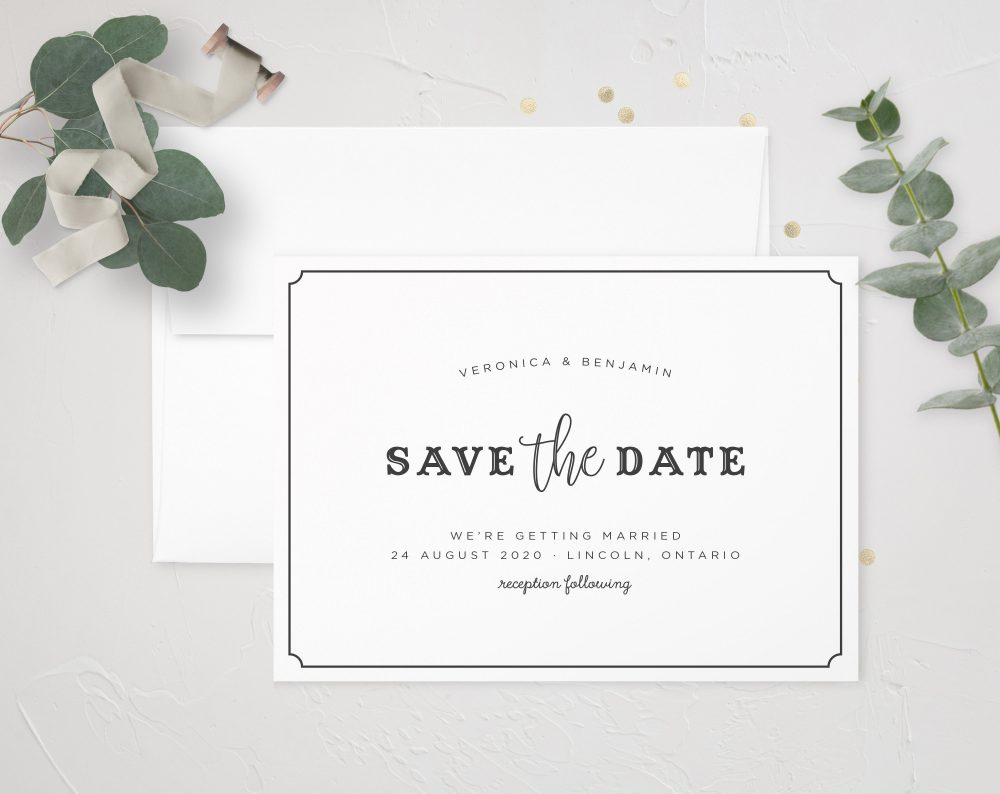 Keira | Modern Save The Date, Minimalist Wedding, Vintage Gold Foil, Acrylic Invitation, Classic Formal Date