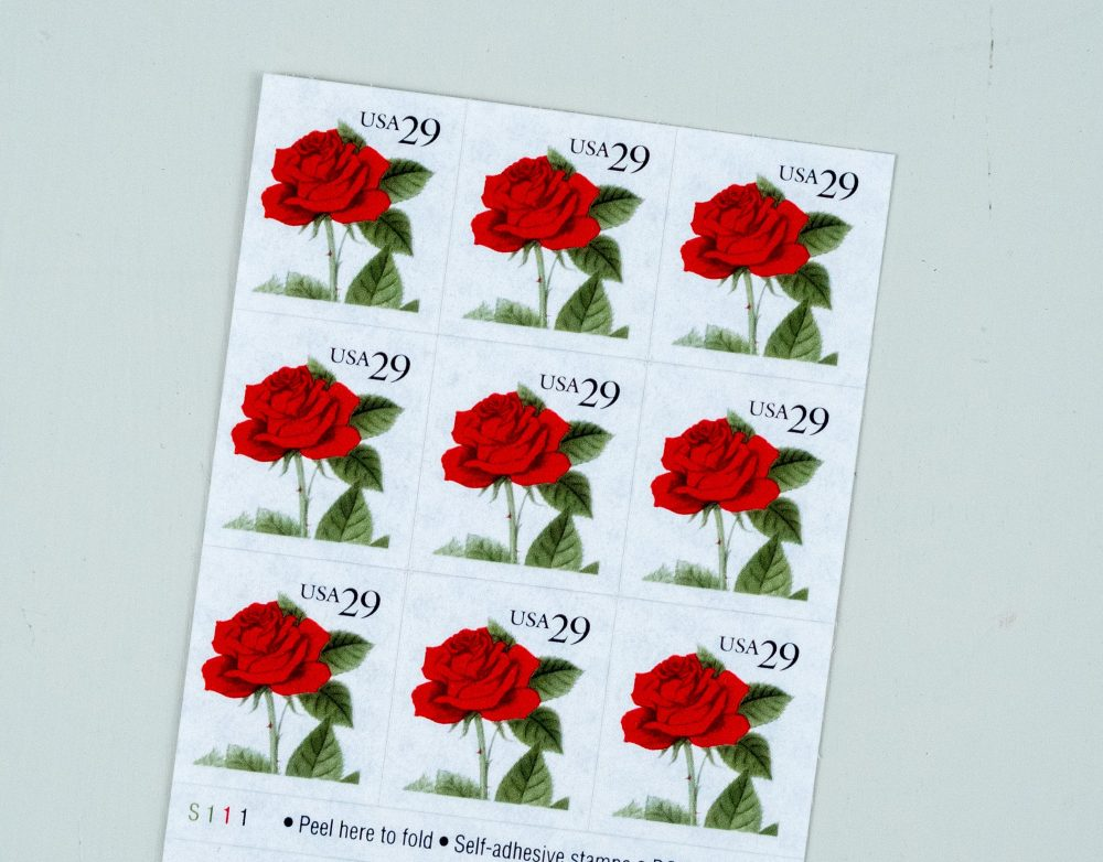 18 Red Rose Stamps, Vintage Wedding Postage, Anniversary Valentine Stamps For Shower Invitations