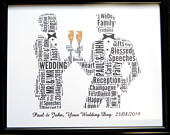 Personalised Gay Male Wedding, Civil Wedding Word Art Design (B) In Glass Front Frame, Beautiful Unique Gift Keepsake, Reduced Postage