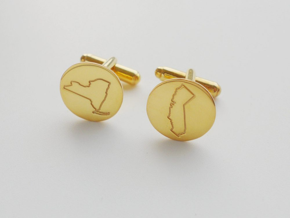 state Cufflinks Gold, Personalized For Groom, Engraved Cufflinks, New York Cufflinks, California Cufflinks, Any Or Country