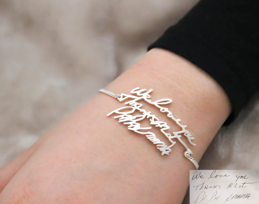Handwriting Jewelry • Bracelet Signature Personalized Memorial Gift Grandma Mom Bh01