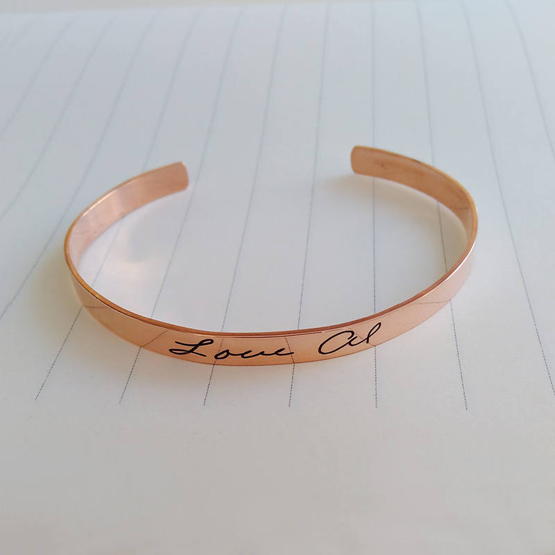 Handwriting Cuff Bracelet Rose Gold, Signature Bangle, Personalized Open Bracelet, Handwritten Bracelet, Christmas Gift, Christmas Gift