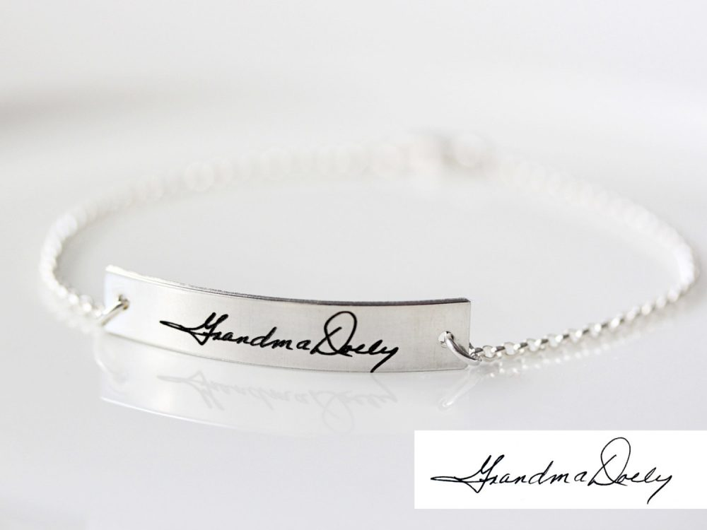 Handwriting Bracelet - Custom Handwriting, Engraved Bracelet, Gift For Her, Signature Hwr