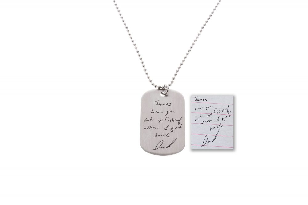 Handwriting Necklace, Dog Tag Memorial Gifts, Handwritten Wedding Keepsakes, Man's Necklace, Man Gift