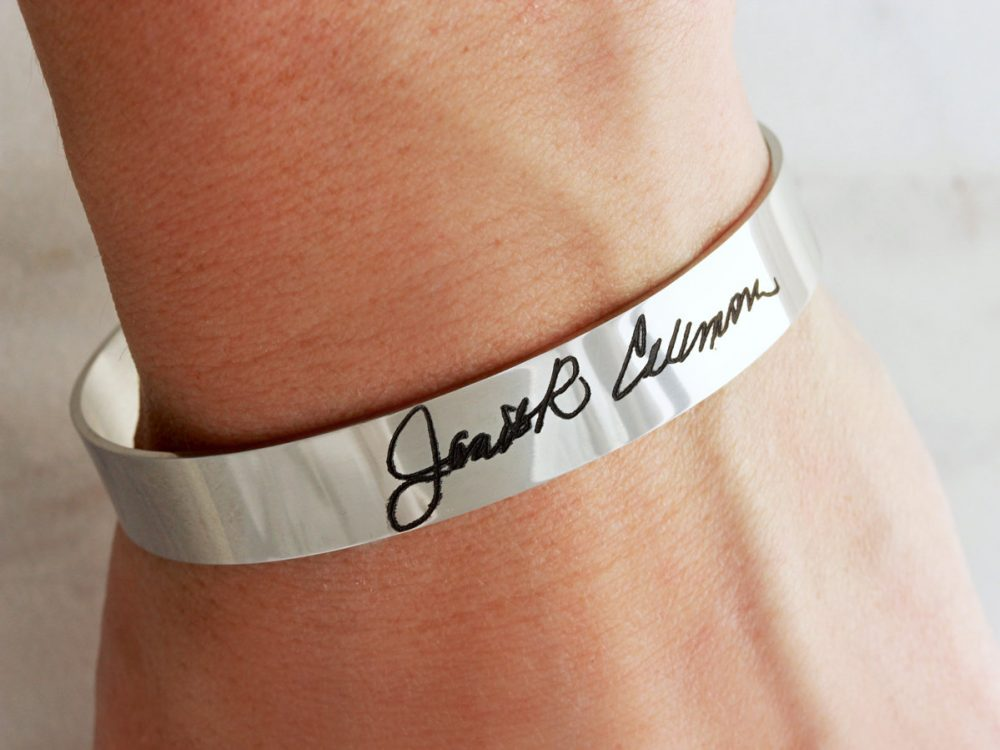 Actual Signature Bracelet - Engraved Bracelet, Cuff Handwriting Custom Medium Hwr