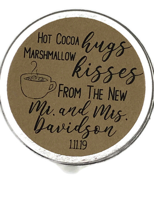 """2"""" Personalized Round Rustic Kraft Brown Peel Stick Stickers Hot Cocoa Hugs Marshmallow Kisses Mr Mrs Chocolate Wedding Favor Labels"""