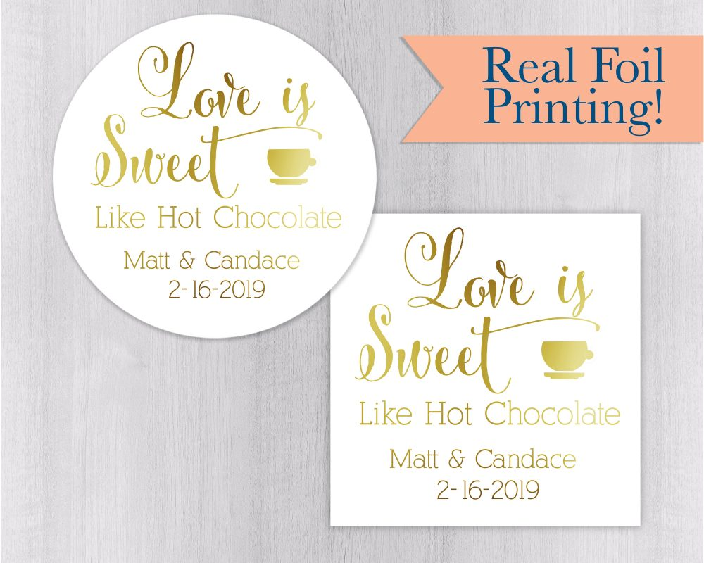 Hot Cocoa Wedding Stickers, Chocolate Favor Labels, Autumn Gold Foil Caramel Apple Stickers | #177-F