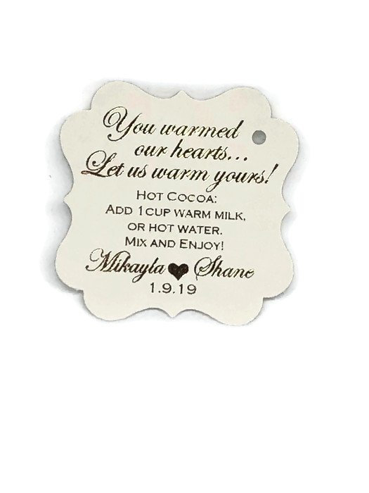 """Personalized 2"""" Gold Foil Tags, Wedding Hot Cocoa Chocolate Recipe Favor, White Blush Burgundy Silver Black +"""